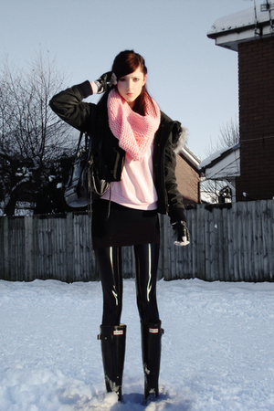 pink made by myself scarf - pink Topshop sweater - black Firetrap coat - black R