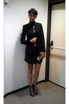 black Zara sweater - black Zara blazer - silver Zara purse - black Zara sandals