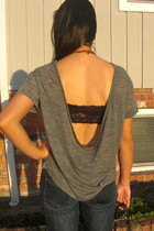 gray alternative apparel shirt - black Aritzia bra