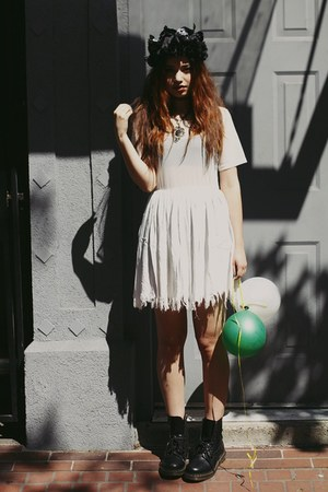 white shredded sheer UNIF dress - black Dr Martens boots