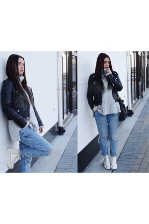 black leather jacket Zara jacket - light blue boyfriend jeans River Island jeans
