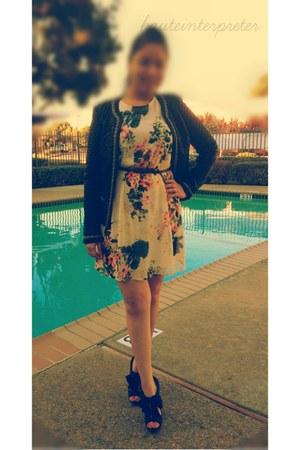 black Forever 21 jacket - ivory floral Forever 21 dress