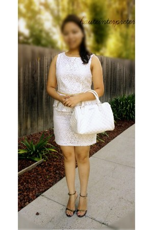 white peplum Forever 21 dress - white Mango bag