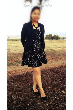 black polka dot Atmosphere dress - black kitten Charles & Keith heels