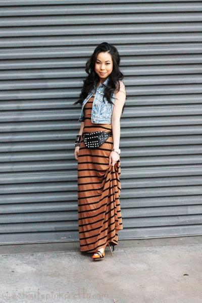 striped maxi Forever 21 dress - denim Forever 21 vest - Sole Society heels