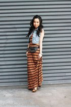 striped maxi Forever 21 dress - denim Forever 21 vest - Sole Society heels