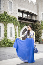 blue Bebe skirt - navy kaylin Sole Society bag - sky blue Zara blouse