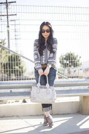 fredericks of hollywood bag - fidelity jeans - Vaunt sunglasses - Jordane wedges