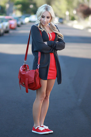 red bodycon Forever 21 dress - charcoal gray oversized brandy melville cardigan