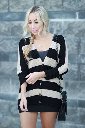 black Forever 21 cardigan - black quilted Chanel bag