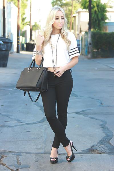 black black Just Black jeans - white crop top Forever 21 t-shirt