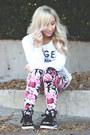 Bubble-gum-floral-print-forever-21-leggings