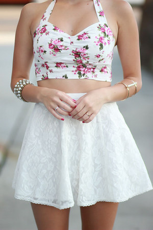 white high waisted Forever 21 skirt - magenta crop top Forever21 top