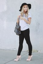 black floppy hat brandy melville hat - light pink suede Forever 21 heels