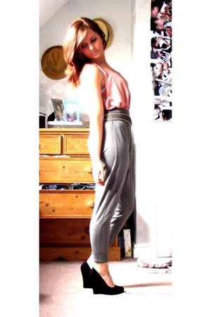 pink Topshop top - asos belt - gray Zara pants - black new look shoes
