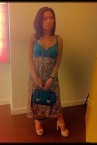 blue corset Victorias Secret top - turquoise blue satchel sm accessories bag