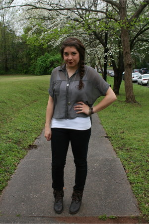 threadsence boots - modcloth shirt - Forever 21 pants