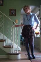 blue Forever 21 shirt - black Forever 21 skirt - gray tights - black Apt 9 shoes