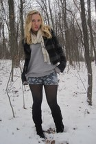 heather gray vintage sweater - sky blue shorts - gray American Eagle jacket - bl
