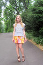 light orange floral Forever21 skirt - heather gray DIY sweatshirt - brown elle w