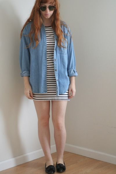 white stripe H&M dress - blue denim vintage shirt - black bow vintage flats