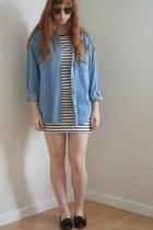 white stripe H&M dress - blue denim vintage shirt - black bow vintage flats