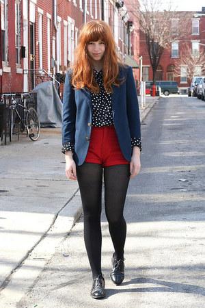 navy little boys vintage blazer - ruby red high waist vintage shorts - black dot