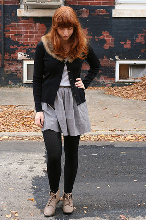 black sweater - heather gray Gap top - gray skirt - black Urban Outfitters tight