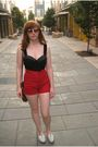 Red-vintage-shorts-black-vintage-swimwear-brown-coach-purse-white-shoes