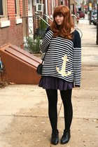 navy heart city vintage sweater - purple Theory skirt - black Urban Outfitters t