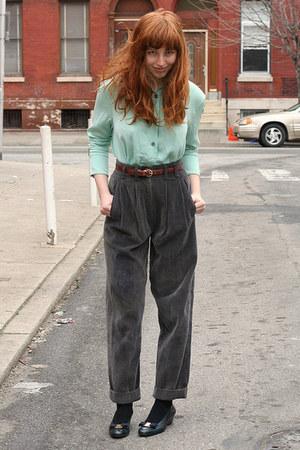 aquamarine silk vintage blouse - charcoal gray corduroy heartcityetsycom pants -