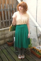 beige vintage top - green vintage skirt - gold vintage purse - gray aa tights -