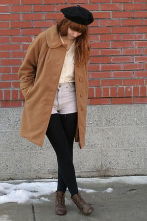 dark brown leather vintage boots - camel 60s vintage coat - black beret vintage