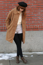 dark brown leather vintage boots - camel 60s vintage coat - black beret vintage