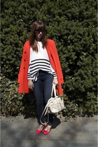 carrot orange ann taylor jacket - H&M sweater - hot pink H&M heels