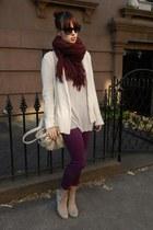 crimson H&M scarf - periwinkle Alexander Wang shirt - magenta Old Navy pants