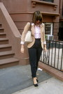 Black-hush-puppies-shoes-tan-h-m-blazer-bubble-gum-poka-dots-roxy-shirt-nu