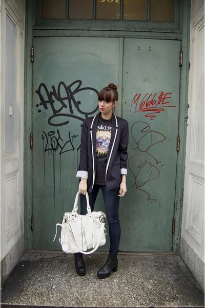navy Wallis blazer - black Urban Outfitters boots - CarMar jeans