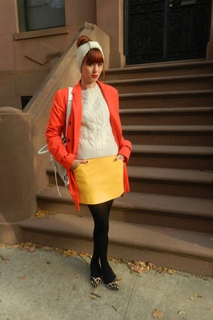 carrot orange ann taylor coat - beige ann taylor sweater - mustard dvf skirt