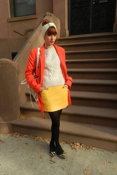 carrot orange ann taylor coat - beige ann taylor sweater - mustard dvf skirt