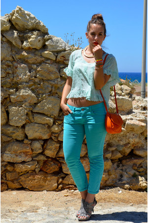 heather gray Zara sandals - orange Mango bag - aquamarine H&M top
