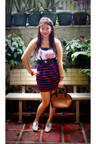 white Forever21 top - blue Forever21 skirt - beige ichigo shoes - brown Vintage