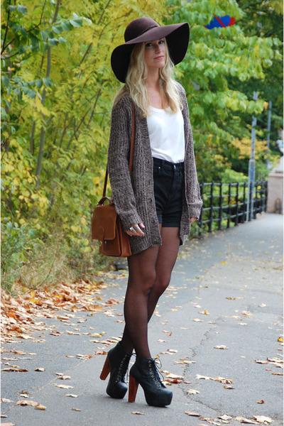 brown vintage purse - black platform Jeffrey Campbell shoes