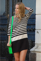 white striped Zara dress - chartreuse fluorecsent the cambridge satchel company