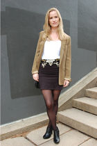 green Zara blazer - vintage belt - black DIY skirt - black Eurosko boots