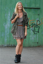 black wedges Din Sko boots - floral Zara dress - green army H&M jacket