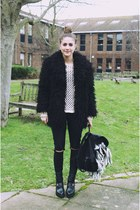 black faux mongolian Urban Outfitters jacket - black diy cut out Topshop pants