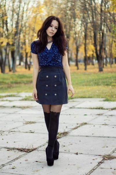 heels Boohoo shoes - romantic Dorothy Perkins skirt - cotton new look blouse