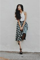 green plaid Shoppiincom skirt