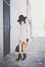 Black-lace-up-marc-fisher-boots-beige-knit-over-sized-h-m-dress